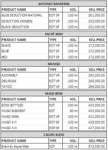 Daftar harga parfum antonio banderas-mango-yatch man-hugo boss-calvin klein